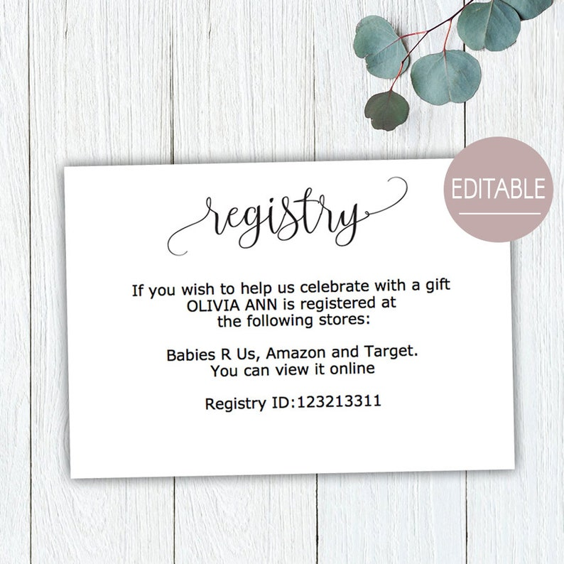 Gift Registry Card Baby Shower Gift Registry Card Template Etsy