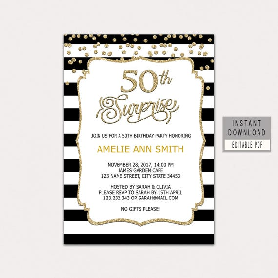 50th surprise birthday invitation woman surprise 50th etsy