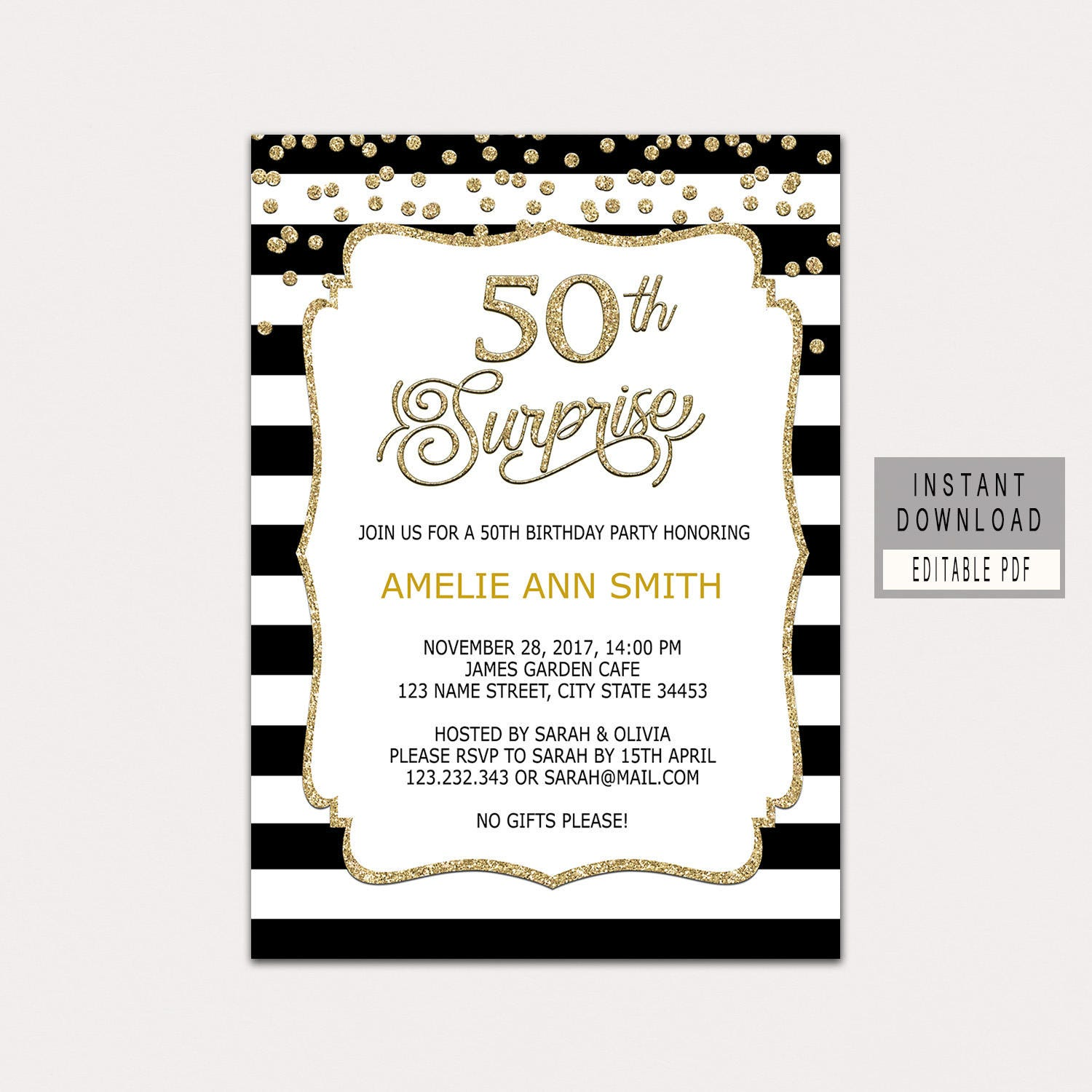 50th surprise birthday invitation woman surprise 50th | Etsy