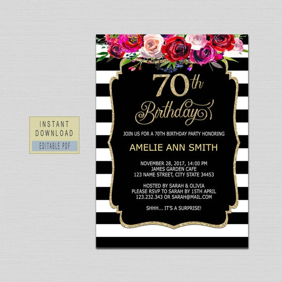 70th Birthday Invitation Instant Download 70th Birthday Invite 70th Birthday Party Invitation Template For Woman Floral Black And Gold B20