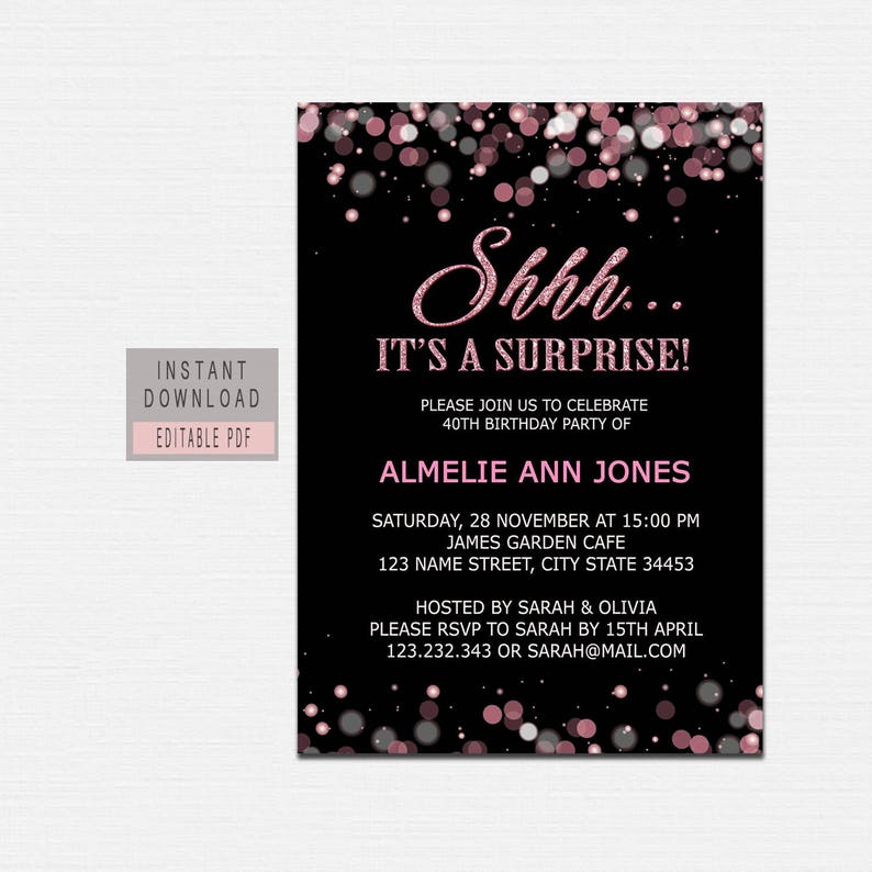 SURPRISE BIRTHDAY INVITATION Instant Download Surprise