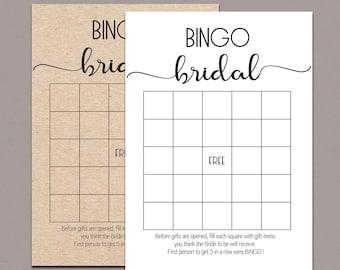 Bridal shower bingo cards, BRIDAL BINGO CARDS, bridal bingo printable, bridal bingo game, rustic bridal shower bingo game, kraft games B11