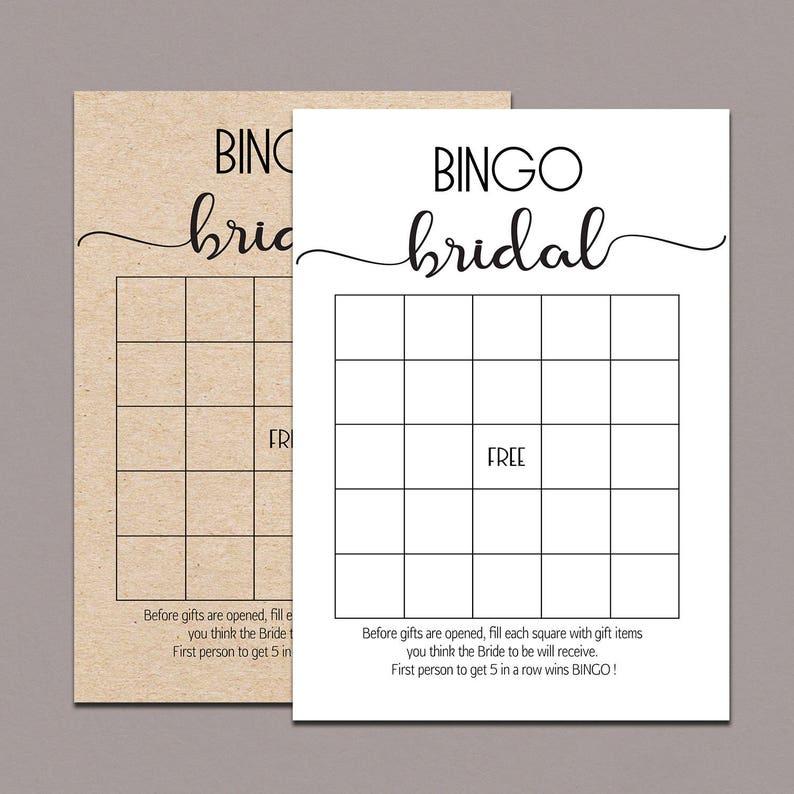 Bridal Shower Bingo Cards Bridal Bingo Cards Bridal Bingo Etsy