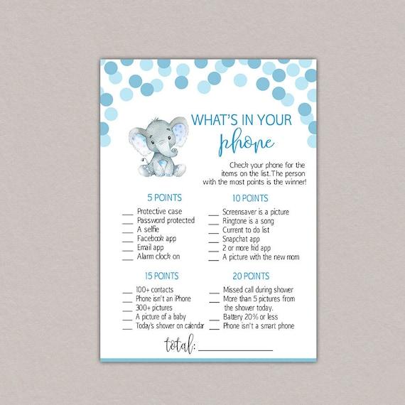 Boy Baby Shower Activity 8 Baby Shower Games Elephant Blue Elephant Baby Shower Games Package