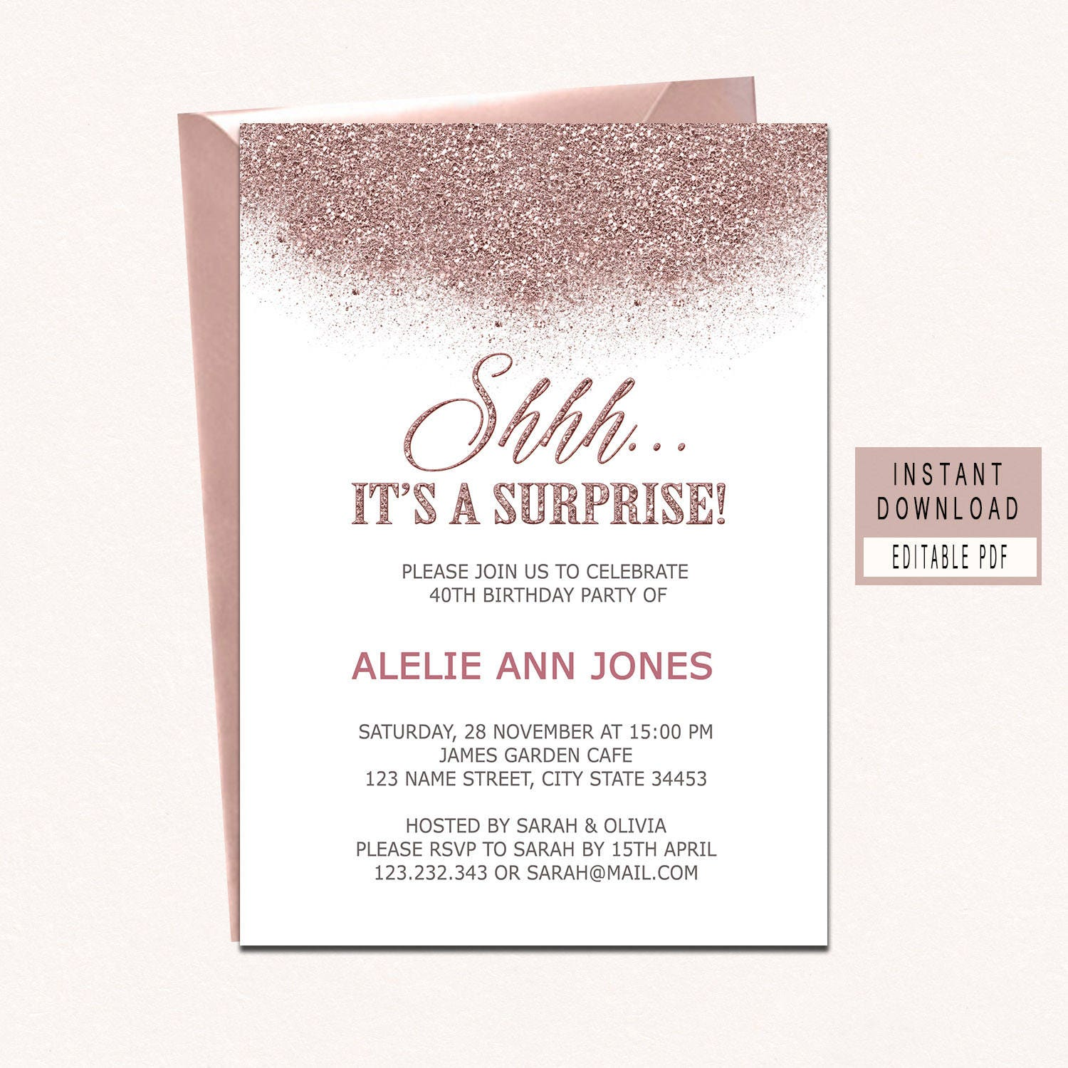SURPRISE BIRTHDAY INVITATION instant download rose gold | Etsy