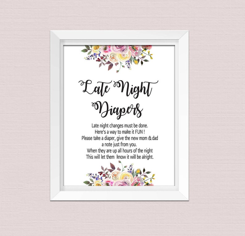 photo relating to Late Night Diapers Printable known as LATE Evening DIAPERS Printable, Late Night time Diaper Indication, Late Evening Diapers, Floral Kid Shower Match, Diapers Sport prompt obtain pdf BL2