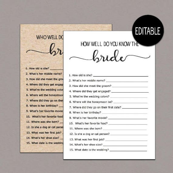 Editable How Well Do You Know The Bride WHO KNOWS The