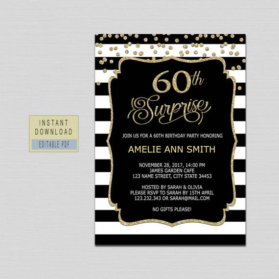 60th Surprise Birthday Invitations Woman 60th Surprise Etsy
