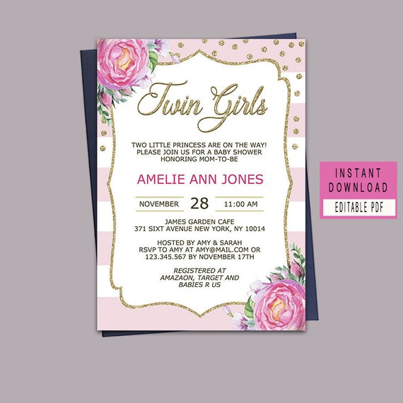 Twin Girls Baby Shower Invitation Girl Baby Shower Invitation Etsy