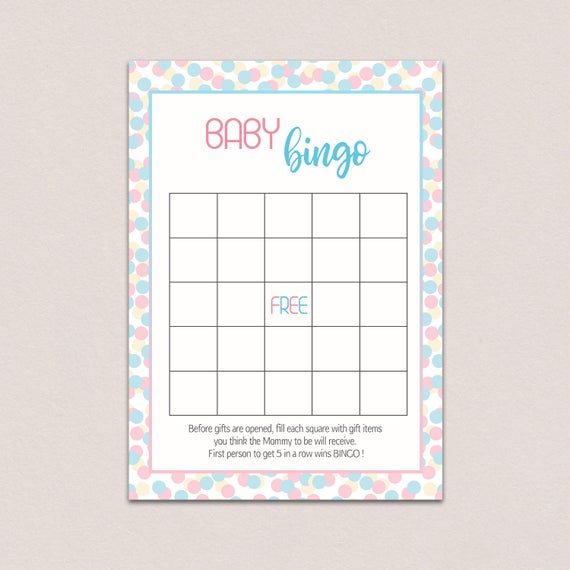 Baby Shower 15 Bingo Cards Fun Game Gender Reveal Party Supplies Boys Girls