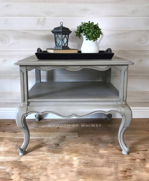 Office Valentines Day Decorations, Sold Gray Two Tiered French Provincial End Table Side Table Etsy