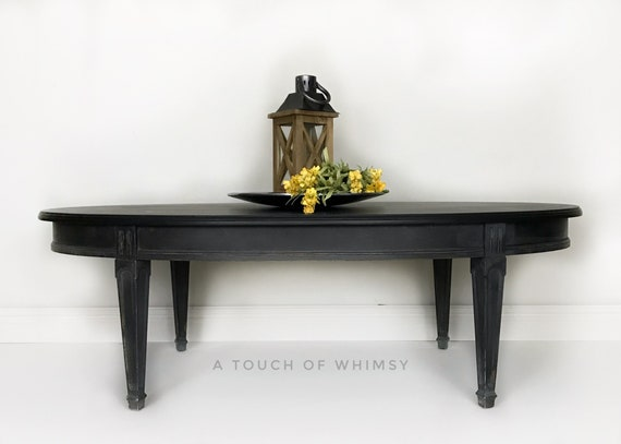 Stupendous Black And Gray Painted Oval Coffee Table Cocktail Table Grey Living Room Furniture Modern Farmhouse Classic Contemporary Traditional Machost Co Dining Chair Design Ideas Machostcouk