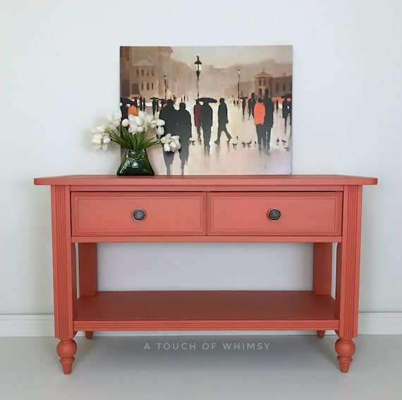 Sensational Sold Coral Sofa Table Custom Painted Entry Table Living Room Furniture Entry Way Entertainment Center Console Table Hand Painted Dailytribune Chair Design For Home Dailytribuneorg