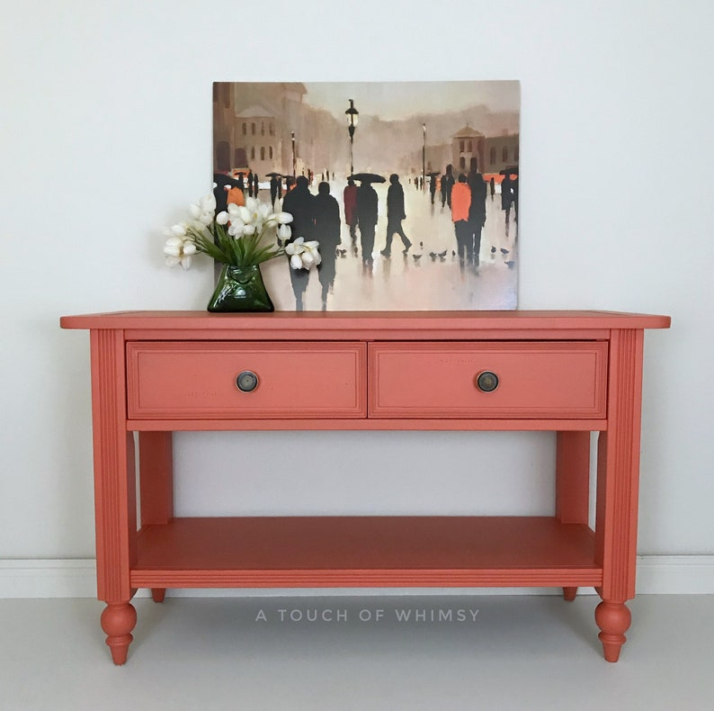 Terrific Sold Coral Sofa Table Custom Painted Entry Table Living Room Furniture Entry Way Entertainment Center Console Table Hand Painted Home Interior And Landscaping Dextoversignezvosmurscom