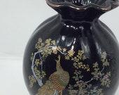 Vintage Satsuma Black Porcelain Gold-Rimmed Vase Peacock Floral Pattern Gold Trimmed Circa 1970s