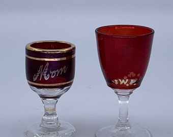 Ruby Flash Barware Stemware Cordial WIne Glass Set of 6 Vintage Ruby Stain Flashed Color Gold Stripe Bands Cordial Glass