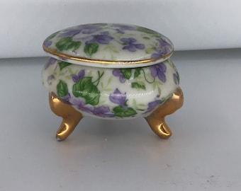 Vintage Victorian Porcelain Pedestal Sugar Scuttle With Pink Roses /& Gold Gilded Handle