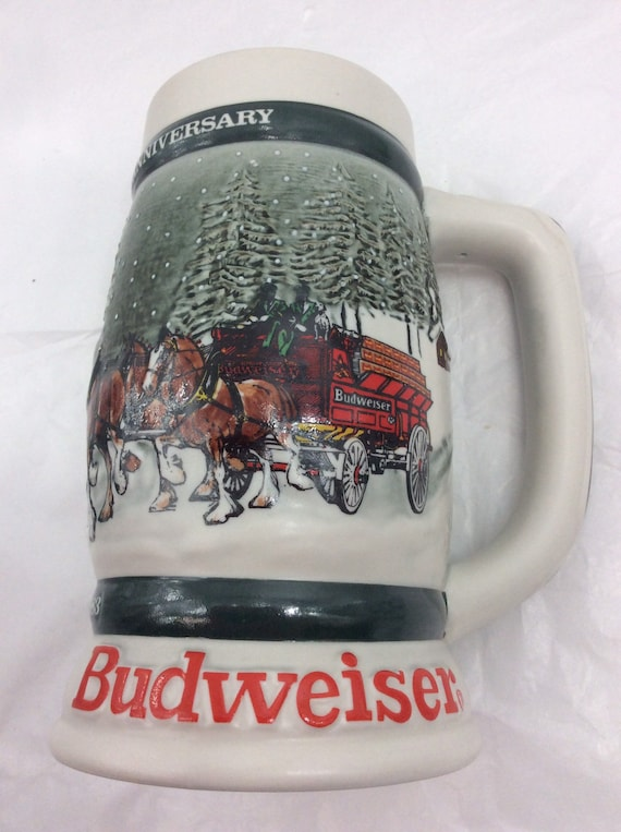 1983 Anheuser Busch AB Budweiser Bud Beer Stein Clydesdales 50th Anniversary