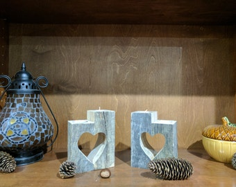 Wooden Heart Candle Holders, Wooden Star Candle Holders