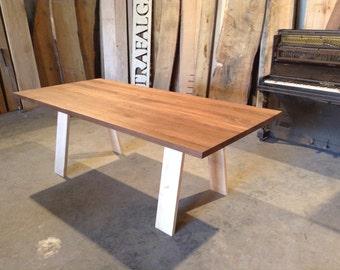 Solid American black Walnut dining table on solid English Ash trestle legs London