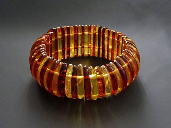 Baltic Amber Beautiful Multicolor Bracelet. Weight ~ 49 g. 天然琥珀 #ET0205