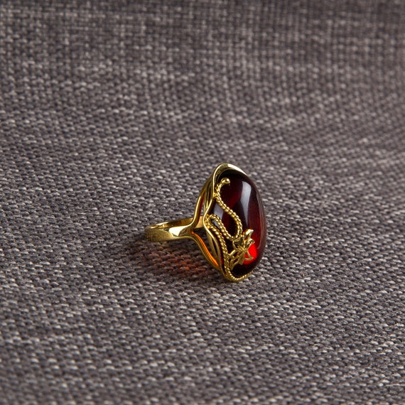 Baltic Amber Beautiful Gold plated brown Ring 7.3 g.