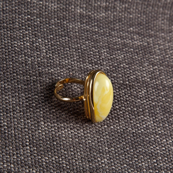 Baltic Amber Beautiful Gold plated yellow Ring 12 g.
