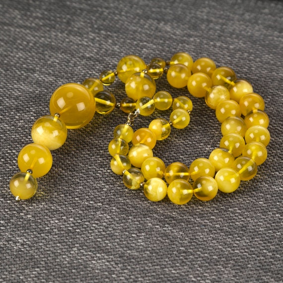 Baltic Amber necklace yellow. Weight ~ 58 g. 728008313COM
