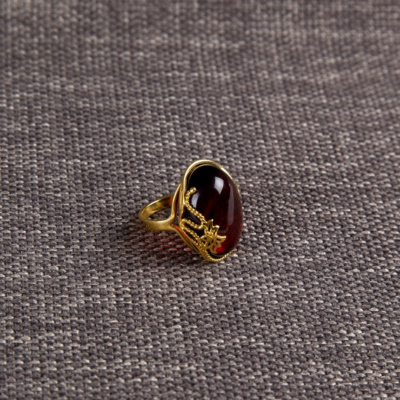 Baltic Amber Beautiful Gold plated brown Ring 7.4 g.