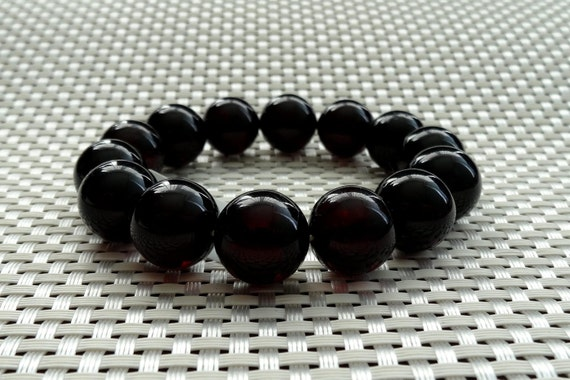 Amber Round Beads Bracelet. Cherry Color. 16 mm. 天然琥珀 #ET0067