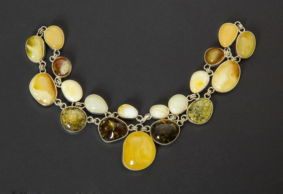 Baltic Amber Beautiful Necklace Silver (925)  Weight ~ 123 g. 天然琥珀, Amber Jewelry, Luxurious Amber Jewelry, Natural Amber #ET728007973