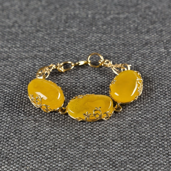 Baltic Amber Beautiful Bracelet Gold silver plated 29,10 g.