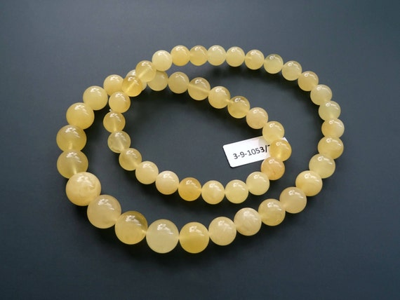 Baltic Amber Round Beads Necklace. Egg Yolk Color. Weight ~ 37 g. 天然琥珀 #ET0486