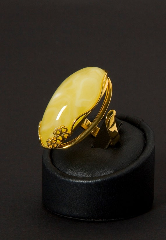 Baltic Amber Beautiful Ring Original Design 10.5 g 琥珀環, Amber Jewelry, Luxurious Amber Jewelry, Natural Amber #ET728008187