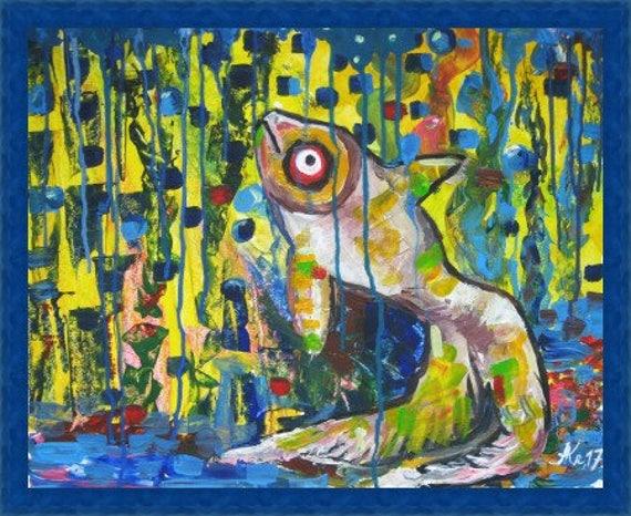 Abstract Animals Art Abstract Fish Acrylic Painting Colorful Animals Painting Modern Fish Art
