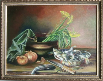 Original Still life oil painting Canvas painting classic still life Realism painting