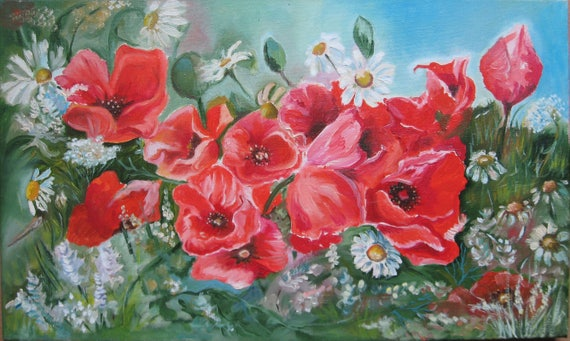 Red floral painting poppies flowers oil painting on canvas etsy image 0 mightylinksfo