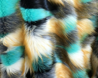 Multi Color Shaggy Faux Fur Fabric By The Yard Long Pile 60
