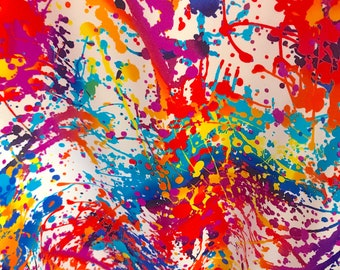 33aa30a2 New Abstract Bright Multi-Color Paint Splatter Print On Four-Way Stretch  Nylon Spandex Fabric By The Yard 60