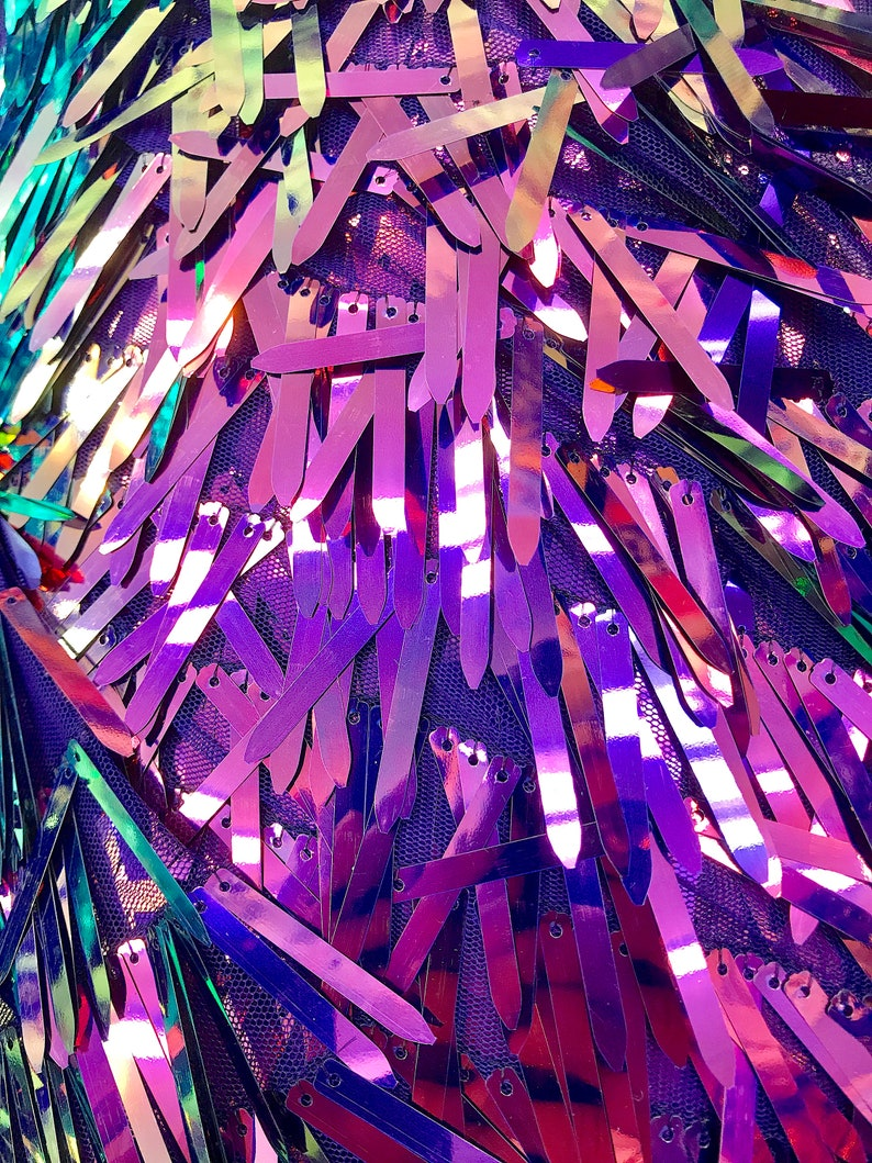 Iridescent Purple Icicle Shaped Paillette Sequin On Mesh Fabric By The Yard 52/'/' Wide