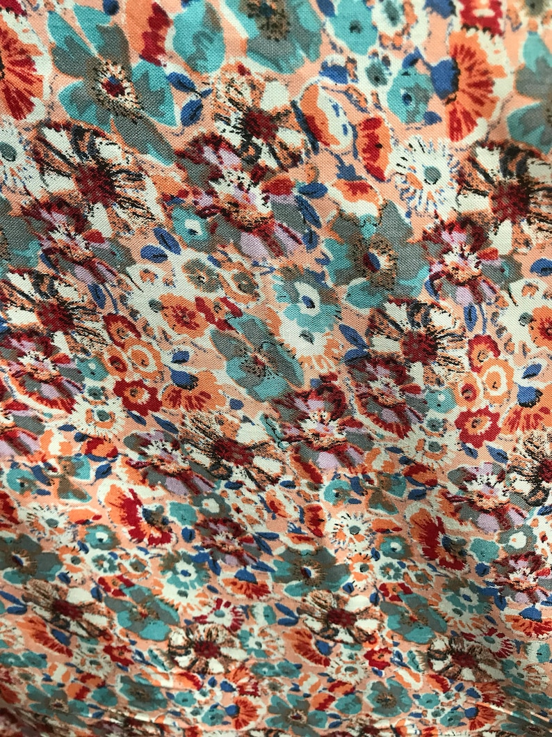 9fc83dc93af 100% Organic Rayon Challis Floral Print Fabric By The Yard
