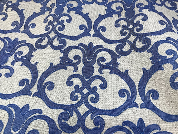 Royal Blue Ikat Design Heavy Duty Upholstery Fabric Sold By Etsy