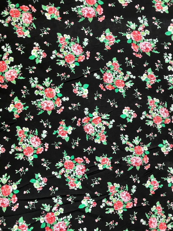 228b14abcc2 100% Organic Rayon Challis Floral Print Fabric Sold By The