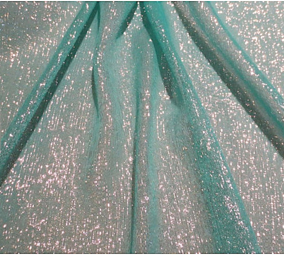 2565f9eb993 Aqua with Silver Metallic Lurex Silk Chiffon Fabric By the | Etsy