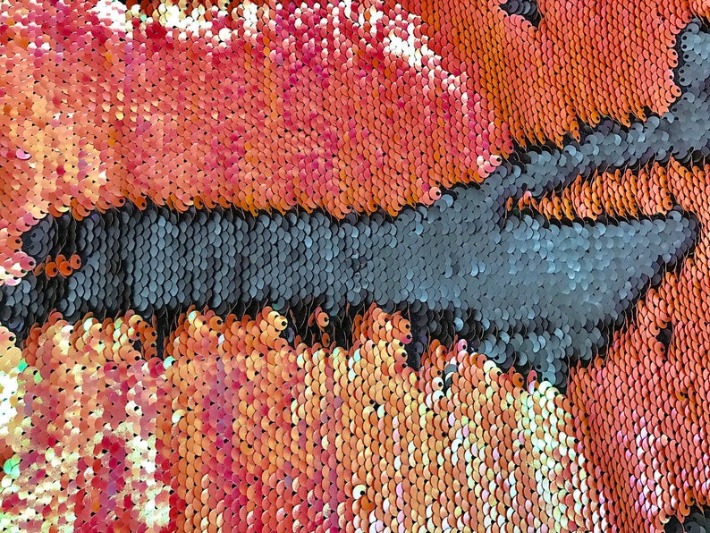 Iridescent Orange /& Black Two Tone Reversible Flip Up Mermaid Sequin Fabric by the Yard 60 Wide