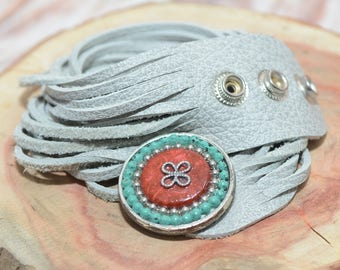 Wrap Bracelet, Leather Bracelet For Women, Leather Wrap Bracelet, Leather Straps Bracelet, Light Gray Bracelet, Tribal Jewelry, Boho Fashion