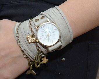 Wrap Watch,white Leather Watch, Leather Wrap Watch, Antique Watch , Quartz Watch Women's, Women's Watch, Boho Jewelry,leaf watch