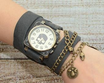 Skull Watch, Gray Leather Watch, Leather Wrap Watch, Wrap Around Watch,  Watch Women's, Boho Jewelry,Handmade watch,Free Shipping
