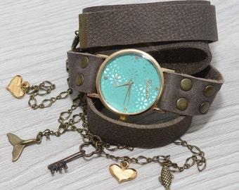 Wrap Watch, Light gray Leather Watch, Leather Wrap Watch, Antique Watch , Quartz Watch Women's, Women's Watch, Boho Jewelry,pale blue watch
