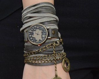 leather Wrap Watch,  Leather Watch, Leather Wrap Around Watch, , Boho Watch